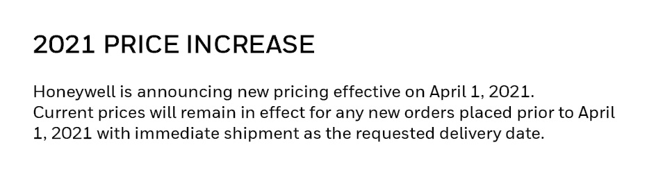 2021 Price Increase